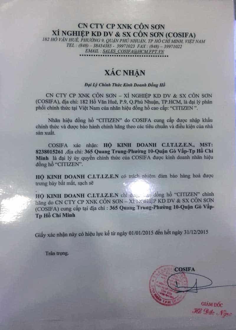 giấy chứng nhận đại lý đồng hồ chính hãng