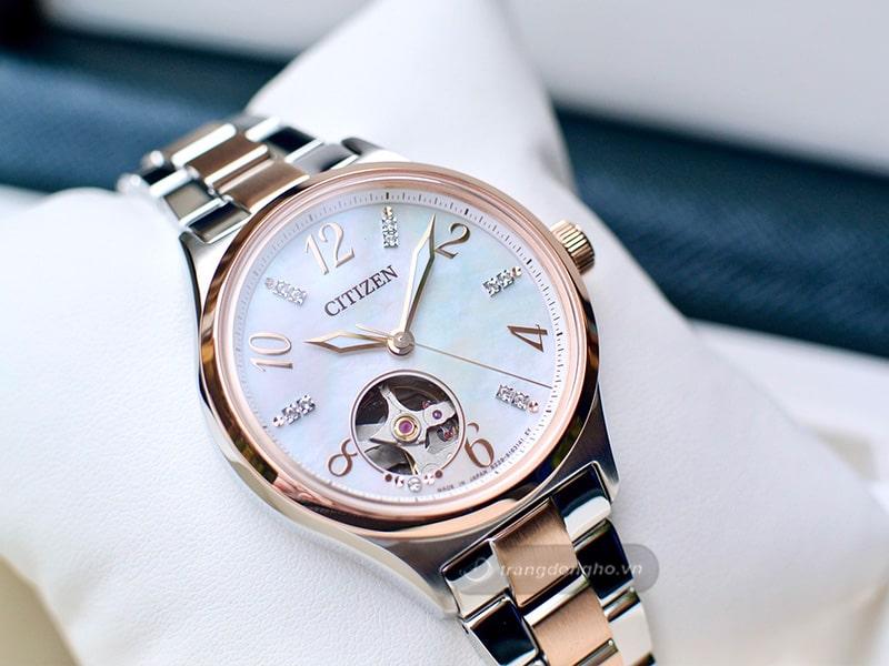 Đồng hồ Citizen nữ dây kim loại Automatic PC1006-84D