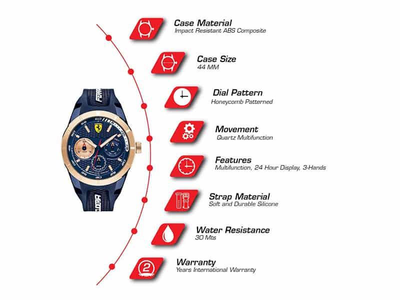 Đồng hồ ferrari nam dây cao su quartz 0830379
